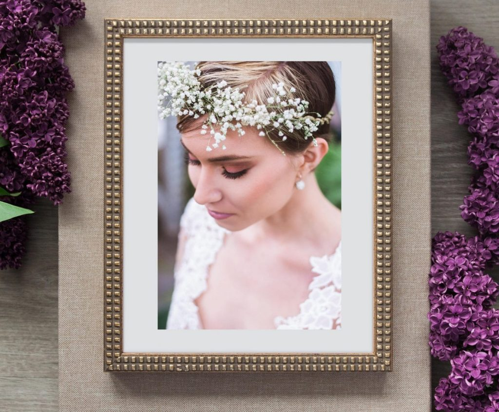 Custom Artwork Gold Framed Print of Bride wearing custom eco friendly babys breath flower crown surrounded by lavender